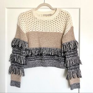 Super chic fringe sweater with combo weave